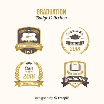 Verzameling van afstuderen badges