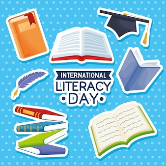 Verzameling van alfabetiseringsdagpictogrammen