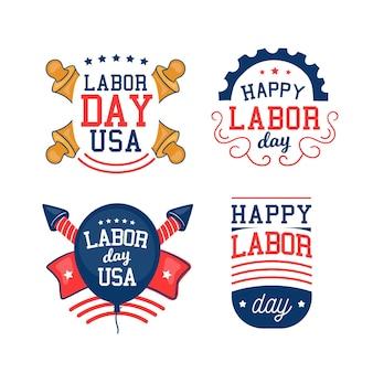 Verzameling van amerikaanse arbeidsdaglabels