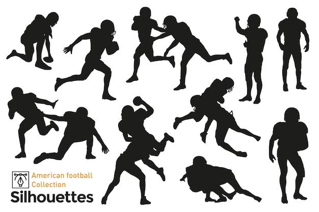 Verzameling van amerikaanse voetbal silhouetten