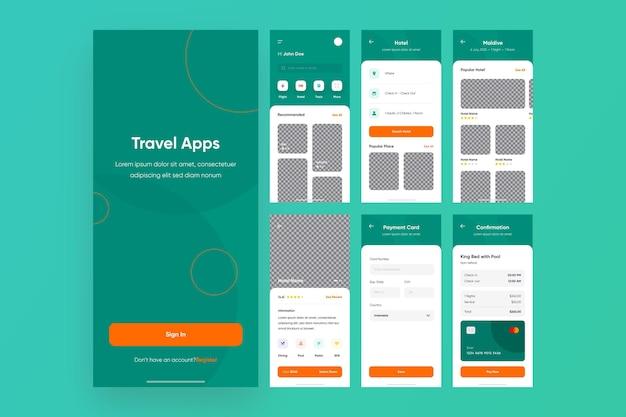 Verzameling van apps voor het boeken van reizen