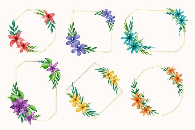 Verzameling van aquarel bloemen frame