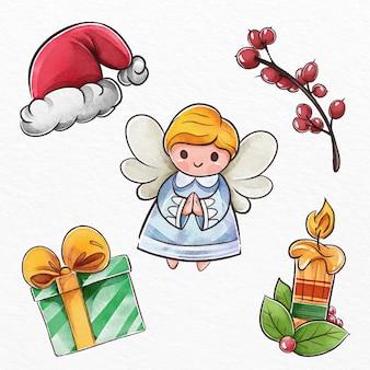 Verzameling van aquarel kerst elementen