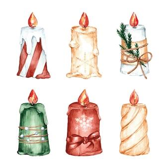 Verzameling van aquarel kerstkaarsen