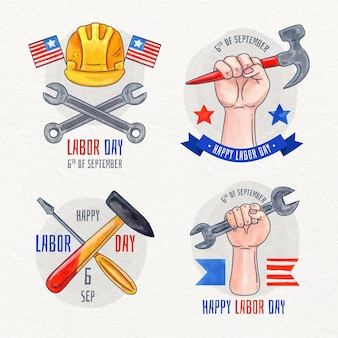 Verzameling van aquarel labels voor de dag van de arbeid