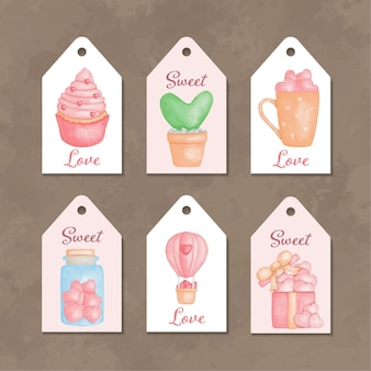 Verzameling van aquarel labels voor valentijnsdag