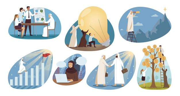 Verzameling van arabisch moslim arabier met hijab
