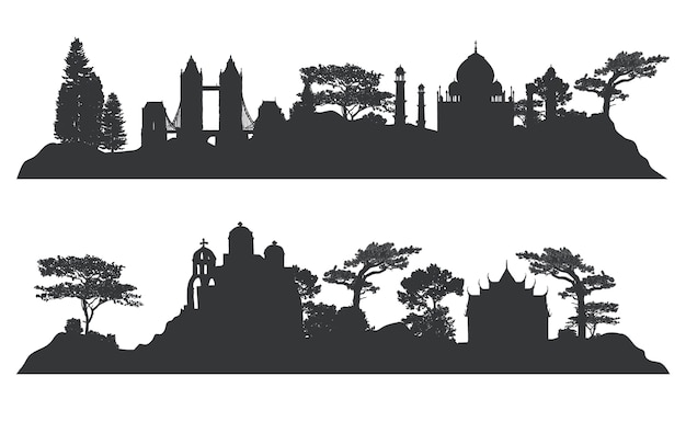 Verzameling van architectonische bezienswaardigheden vector