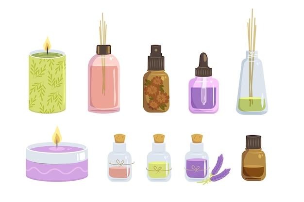 Verzameling van aromatherapie-elementen met platte hand