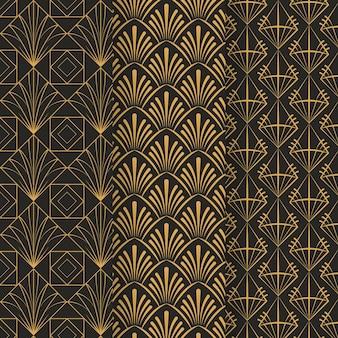 Verzameling van art deco patroon sjabloon