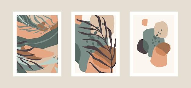 Verzameling van art prints met abstracte bladeren. modern ontwerp voor posters, covers, kaarten, interieurdecoratie en andere gebruikers. verhouding a4.