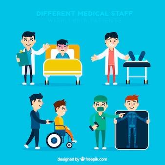 Verzameling van artsen met patiënten in platte ontwerp