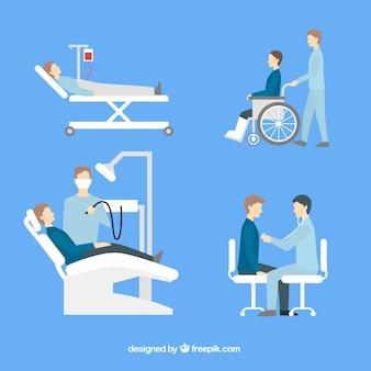 Verzameling van artsen met patiënten in vlakke stijl
