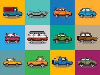 Verzameling van auto's en vrachtwagens illustratie