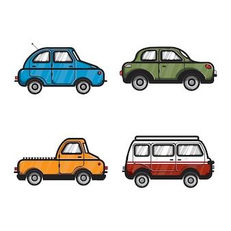 Verzameling van auto- en voertuigillustraties