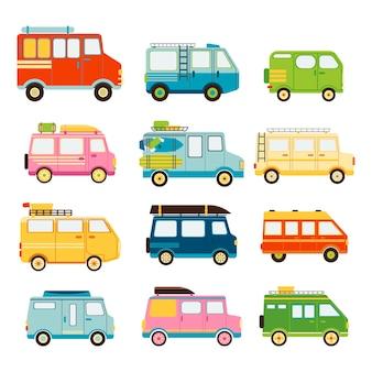 Verzameling van auto's voor reizen geïsoleerd op een witte achtergrond vectorillustratie in vlakke stijl