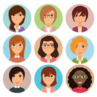 Verzameling van avatars van verschillende jonge vrouwen personages