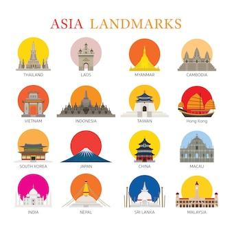 Verzameling van aziatische oriëntatiepunten