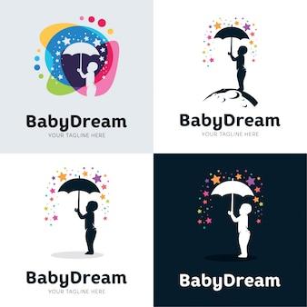 Verzameling van baby dream set ontwerpsjabloon