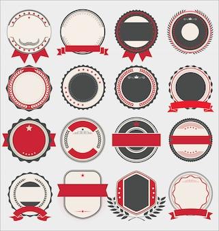 Verzameling van badges en etiketten