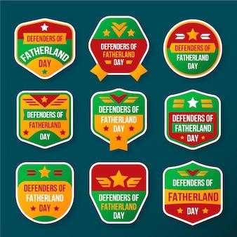 Verzameling van badges voor de verdedigers van het vaderland