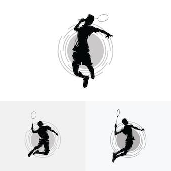 Verzameling van badminton smash-logo-ontwerpen