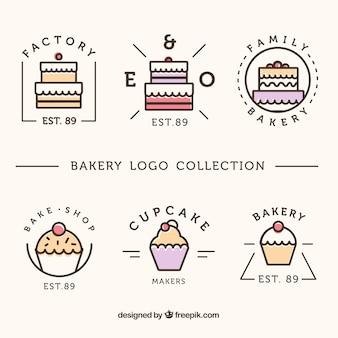 Verzameling van bakkerij logo's in vlakke stijl