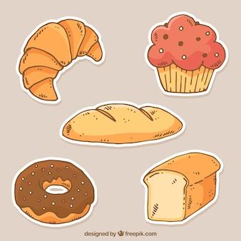 Verzameling van bakkerij stickers in vlakke stijl