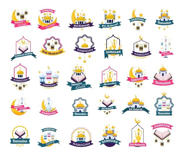 Verzameling van banners en logo's voor de viering van de ramadan