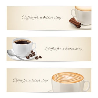 Verzameling van banners met koffiebekers