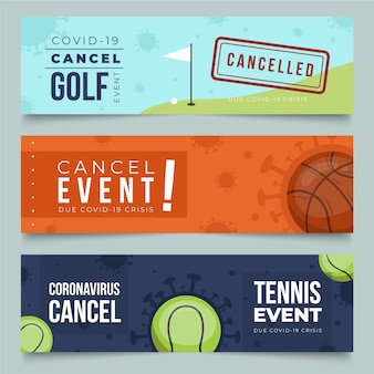 Verzameling van banners voor geannuleerde sportevenementen