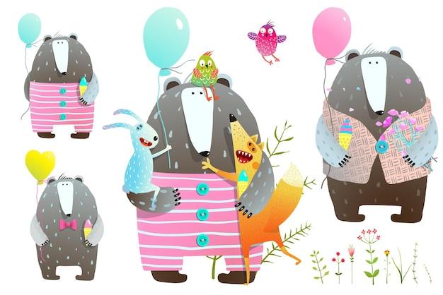Verzameling van beer en vos en konijn met ballonnen en bloemen.