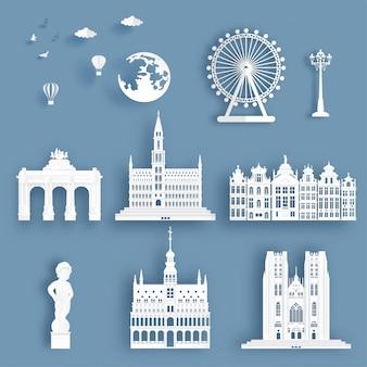 Verzameling van belgië beroemde bezienswaardigheden