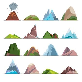 Verzameling van berg pictogrammen in vlakke stijl