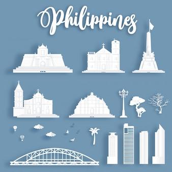 Verzameling van beroemde bezienswaardigheden van filipijnen.