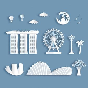 Verzameling van beroemde bezienswaardigheden van singapore