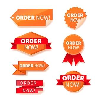 Verzameling van bestel nu oranje stickers