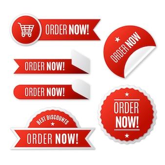 Verzameling van bestel nu stickers