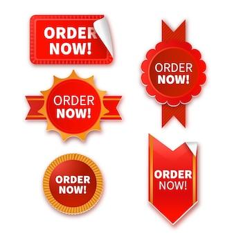 Verzameling van bestelling nu rode stickers