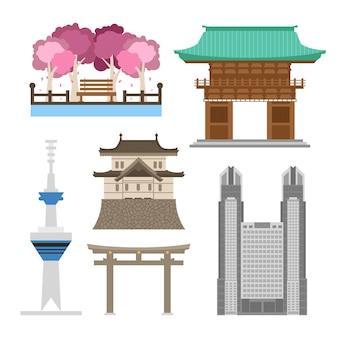 Verzameling van bezienswaardigheden in tokio