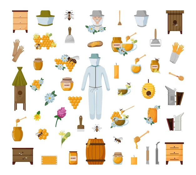 Verzameling van bijenteelt objecten. vectorillustratie voor een bijenboerderij.