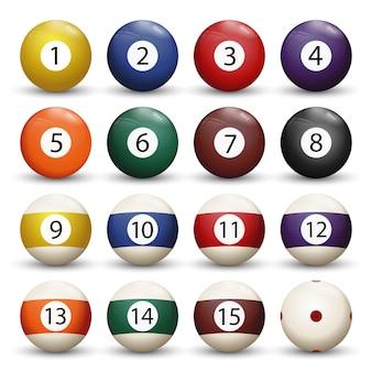 Verzameling van biljart pool of snooker ballen met nummers