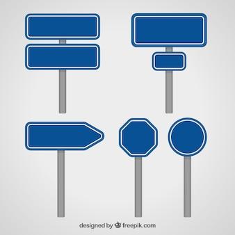 Verzameling van blauw verkeersbord