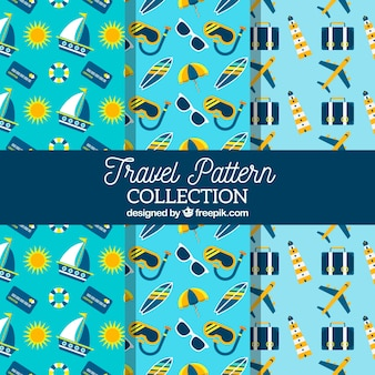 Verzameling van blauw zomer reis patroon
