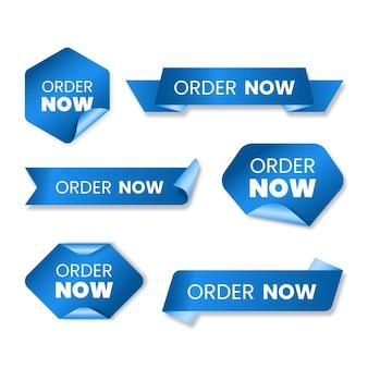 Verzameling van blauwe order nu labels