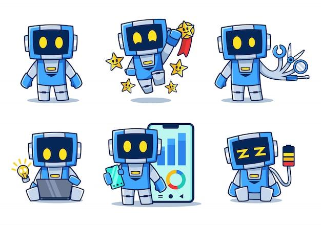 Verzameling van blauwe robot stripfiguur