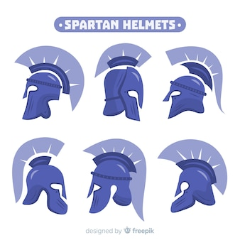 Verzameling van blauwe spartan helmen