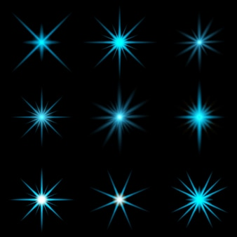 Verzameling van blauwe starburst-ontwerpen