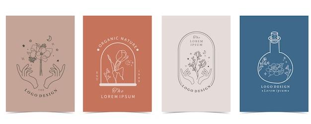 Verzameling van bloem met jasmijn, magnolia, lavendel. bewerkbare kaart