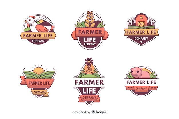 Verzameling van boerderij logo vlakke stijl